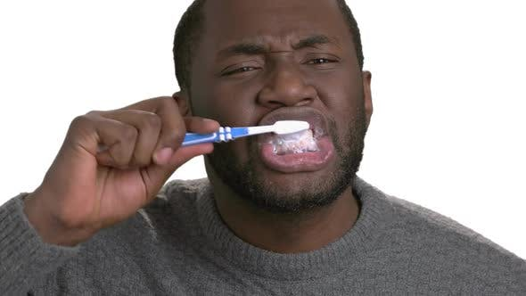 Image result for black man brushing teeth""