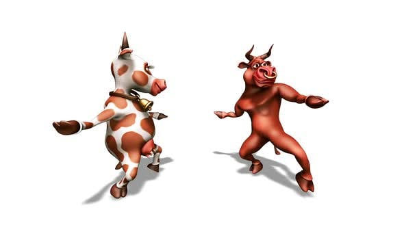 Cartoon Bull With Cow Dance 6 3d Loop 10 Sec By Cinemultic Videohive