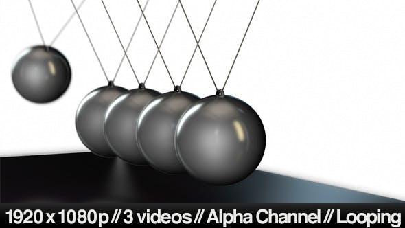 Newton's Cradle Pendulum Balls - Series Of 3 Loop by butlerm   VideoHive