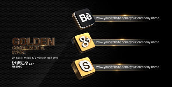 Golden Social Media Pack by iluzie | VideoHive