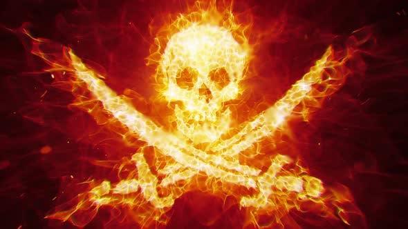 Burning Pirate Skull by Stefoto | VideoHive