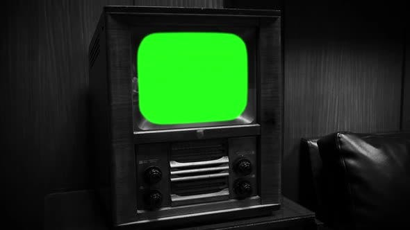 1950s Old Television Green Screen Black And White Tone Zoom In