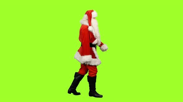 Santa Claus Walking on Green Screen Background, Chroma Key