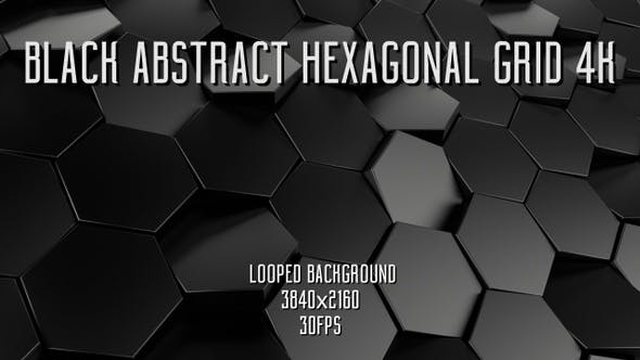 Black Abstract Hexagonal Grid by Wizard_Way   VideoHive