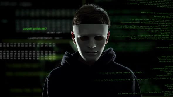 Anonymous Scary Hacker Taking Off Mask It Criminal