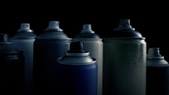 Passing Grungy Used Spraypaint Cans by RockfordMedia | VideoHive