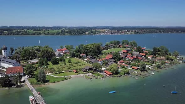 Weihnachtsmarkt Fraueninsel.Aerial View Of Frauenchiemsee Fraueninsel Germany By Rusm Videohive