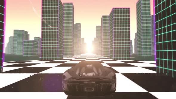 80's Grid Vaporwave Car And City Loop by Videoman61 | VideoHive