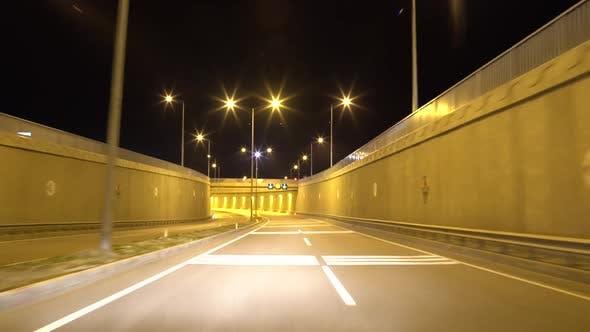 Fast City Drive Night Road Tunnel POV