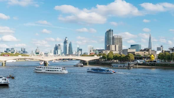 View Along The River Thames Over Waterloo Bridge To The City