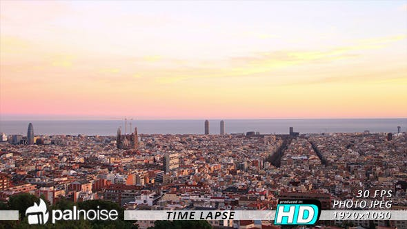 barcelona sunset skyline by palnoise videohive usd