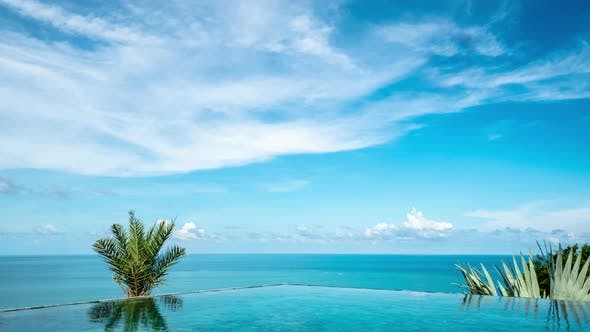 Timelapse of Infinity Edge Swimming Pool with Sea View in ...