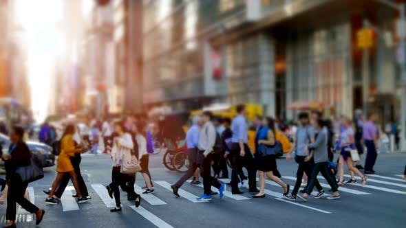 People Walk in Business City by rdsmath09 | VideoHive  |Person Walking City