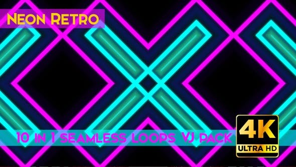 Retro Neon VJ Loops Pack by SVMD   VideoHive