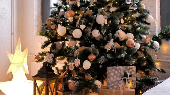 Christmas Decorations on Christmas Tree at Home, Gifts on Floor (Stock Footage)