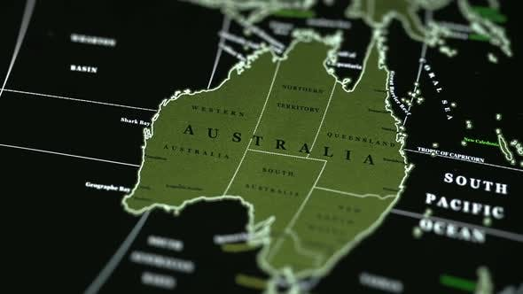 Australia Map Video.Australia On The Physical World Map On A Black Background