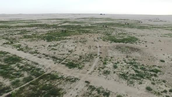 Flight Over the Dunes Desert And Farming by foly | VideoHive