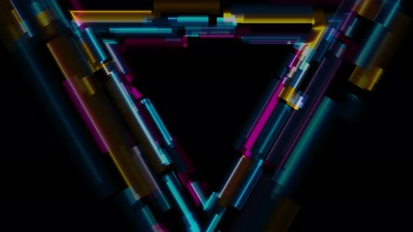 Abstract Tech Glowing Neon Triangle Glitch Effect by saicle