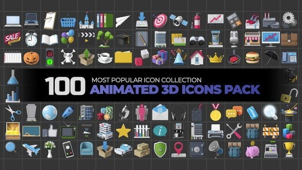 100 Animated 3D Icons Pack by Moriscopy | VideoHive