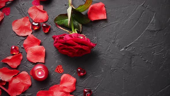 Red Rose, Petals, Candles, Dating Accessories, Boxed Gifts