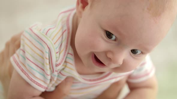 ad7958d7c Cute Baby Face. Close Up of Funny Baby Emotion. Portrait of Happy Child  Face (Stock Footage)