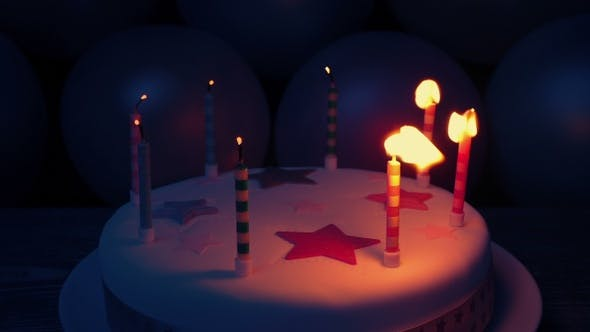 Birthday Candles Are Blown Out In The Dark Stock Footage