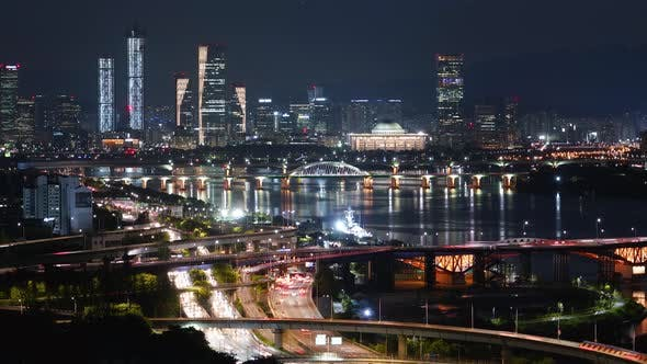 Nighttime Han River City Han River By Byungchan Videohive
