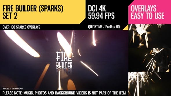 Fire Builder (Sparks 4K Set 2) by Dyomin | VideoHive