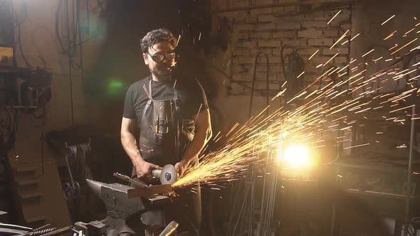 Sparks During Cutting of Metal Angle Grinder  Slow Motion by