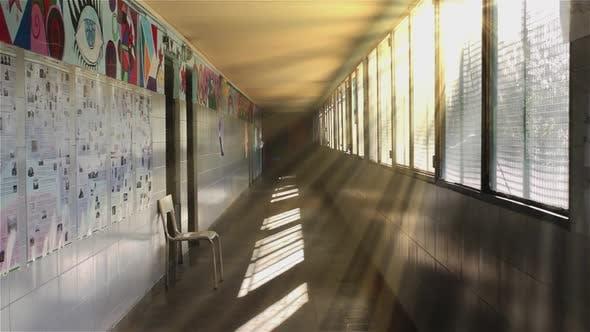 Corridor of an Empty Public School.