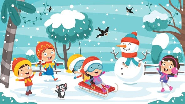 Children Playing Outside In Winter by yusufdemirci | VideoHive