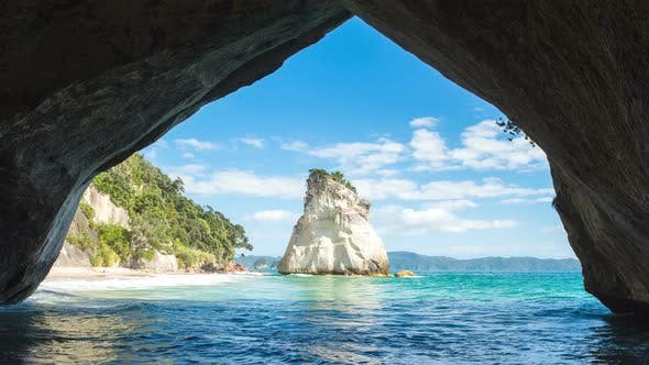 Cathedral Cove In New Zealand By Grondy Videohive