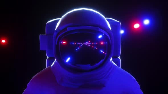 Astronaut With Neon Laser Lights In Dark Space 4k By Sololeveler Videohive