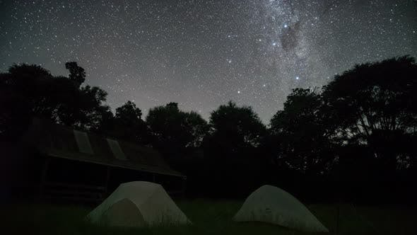 Stars with Milky Way Galaxy over Forest Camp in Starry Night Sky in
