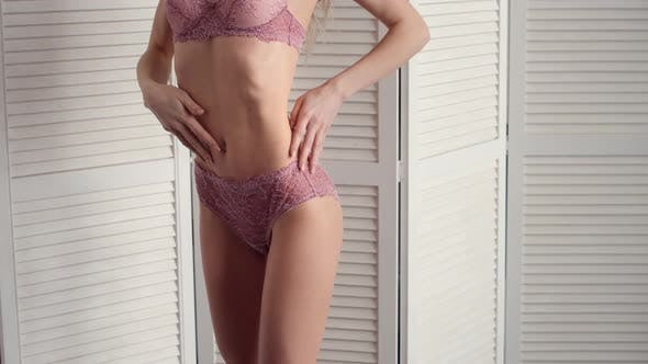 86079425f55 Sexy Woman with Beautiful Slim Body Posing Seductively and Wear Underwear ( Stock Footage)