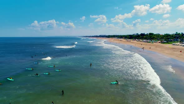 Aerial View of the Ocean and the Beach (Stock Footage)