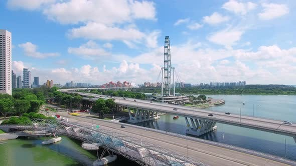 Aerial View of Helix Bridge, Singapore Flyer and Marina Bay