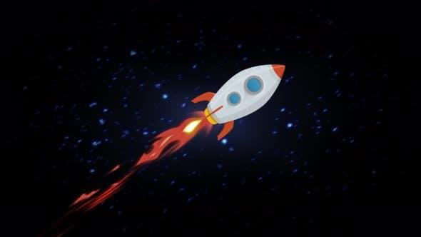 4k Cartoon Rocket Ship Flying Through Space Loop By