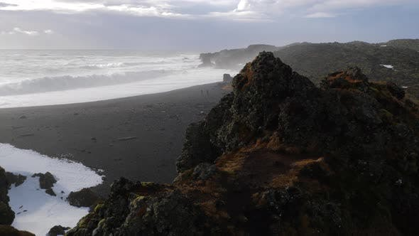 Iceland View Of Black Sand Beach And Rough Ocean Waves by SightSeven