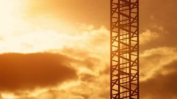 Ladder of Tower Crane Construction Site Sunset Light, Orange