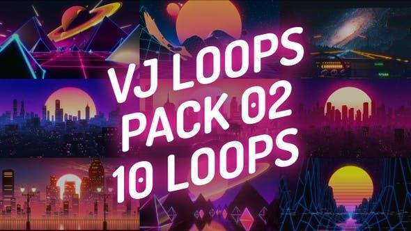 Vj Loops Pack 02 - Synthwave Lo-Fi Retrowave Vaporwave Mix